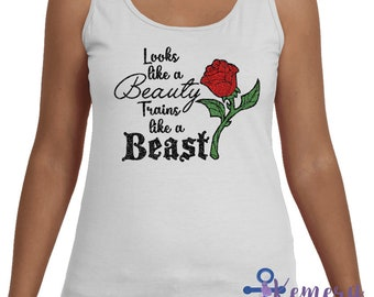 Looks Like a Beauty Runs Like A Beast, Run Disney Princess 5K 10K Half Marathon Race, Women's Racerback Running Tank, Run Disney Tank