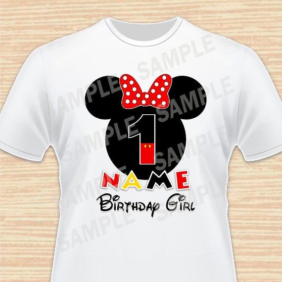 N'importe quel nom et âge pour fille d'anniversaire. Fichier numérique de Minnie Mouse. Personnalisable, chemises de famille. Fête d'anniversaire. Fer sur le transfert. 4 imprimable