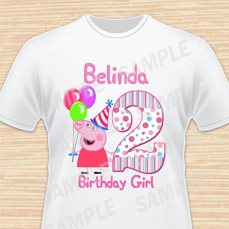 Any Name and Age for Design Birthday Girl. Digital File Peppa  8550b33940f