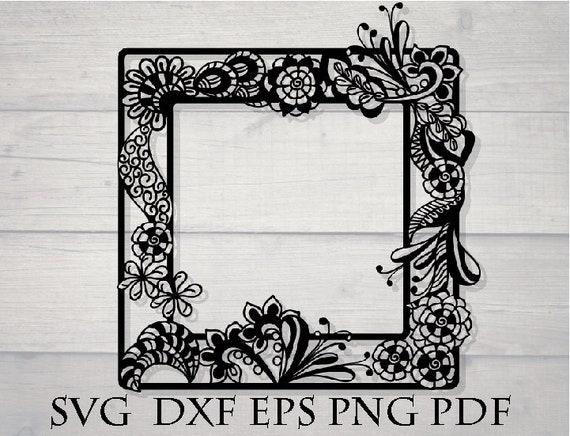 Square Frame Svg Zentangle Drawing Svg Dxf Etsy