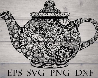 Teapot mandala svg / teapot zentangle svg / intricate svg file / flourish svg file / kitchen mandala svg / zentangle kitchen / cricut design