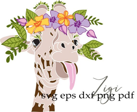 Giraffe Svg Floral Wreath Svg Funny Svg Hippie Svg Cricut Etsy