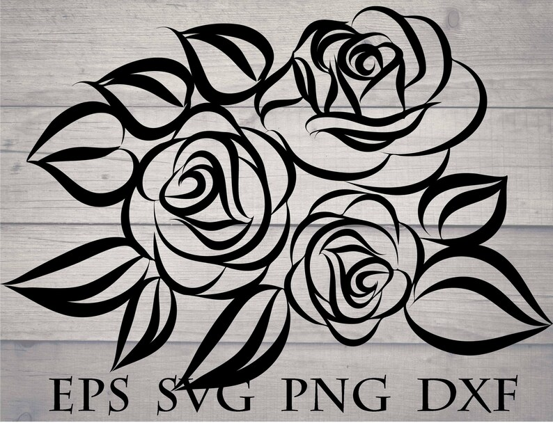 Rose Drawings Flower Pattern Svg Cut File Eps Dxf Png Etsy