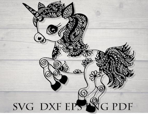 Mandala bébé Licorne svg / animal mandala svg / fichier svg zentangle / zentangle Licorne svg / cricut design download svg / complexe fichier svg