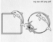 Dolphin frame svg, dolphin svg, dolphin clipart, dolphin silhouette, dolphin monogram svg, dolphin cut file, dolphin dxf, monogram frame svg