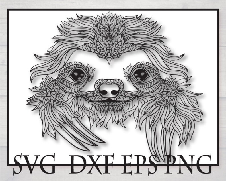 Sloth Outline Svg Files For Cricut Sloth Zentangle Drawing