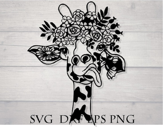Giraffe Svg Giraffe Flower Svg Flower Crown Svg Animal Etsy