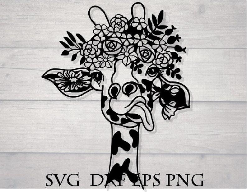 giraffe flower svg flower crown svg animal mandala svg