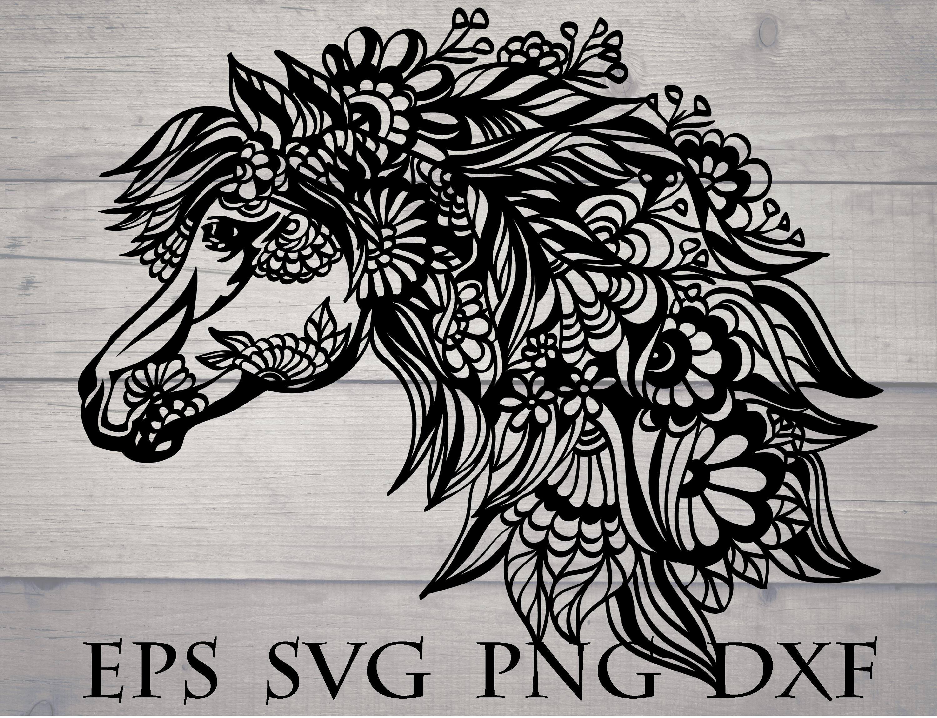 Zentangle horse svg mandala floral animal svg | Etsy