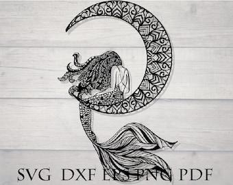 Mermaid svg / mermaid zentangle svg / mandala mermaid tail svg / mermaid shell svg / mermaid cut file / mermaid cricut svg, mandala stencil
