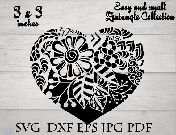 Floral heart mandala svg easy and small zentangle svg | Etsy