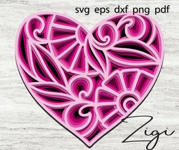 3D heart mandala svg layered mandela dxf cut file vector ...