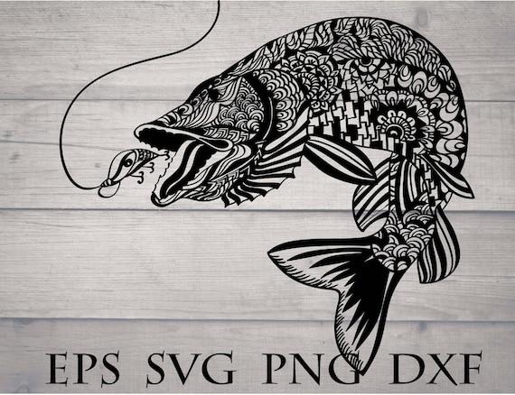 Fish Mandala Svg Mandala Animal Svg Zentangle Fish Svg Etsy