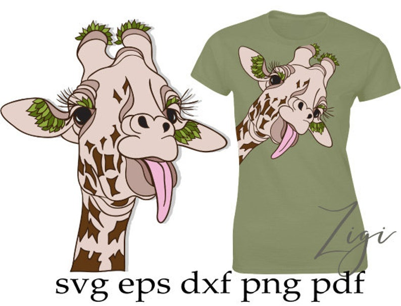 Funny Giraffe Svg Girafe Face Svg Floral Animal Svg Etsy