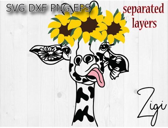 Giraffe Svg Sunflowers Svg Giraffe Face Svg Giraffe Mandala Etsy