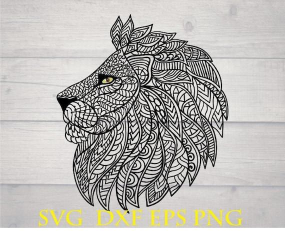 Download Mandala svg lion head zentangle animal cutting files | Etsy
