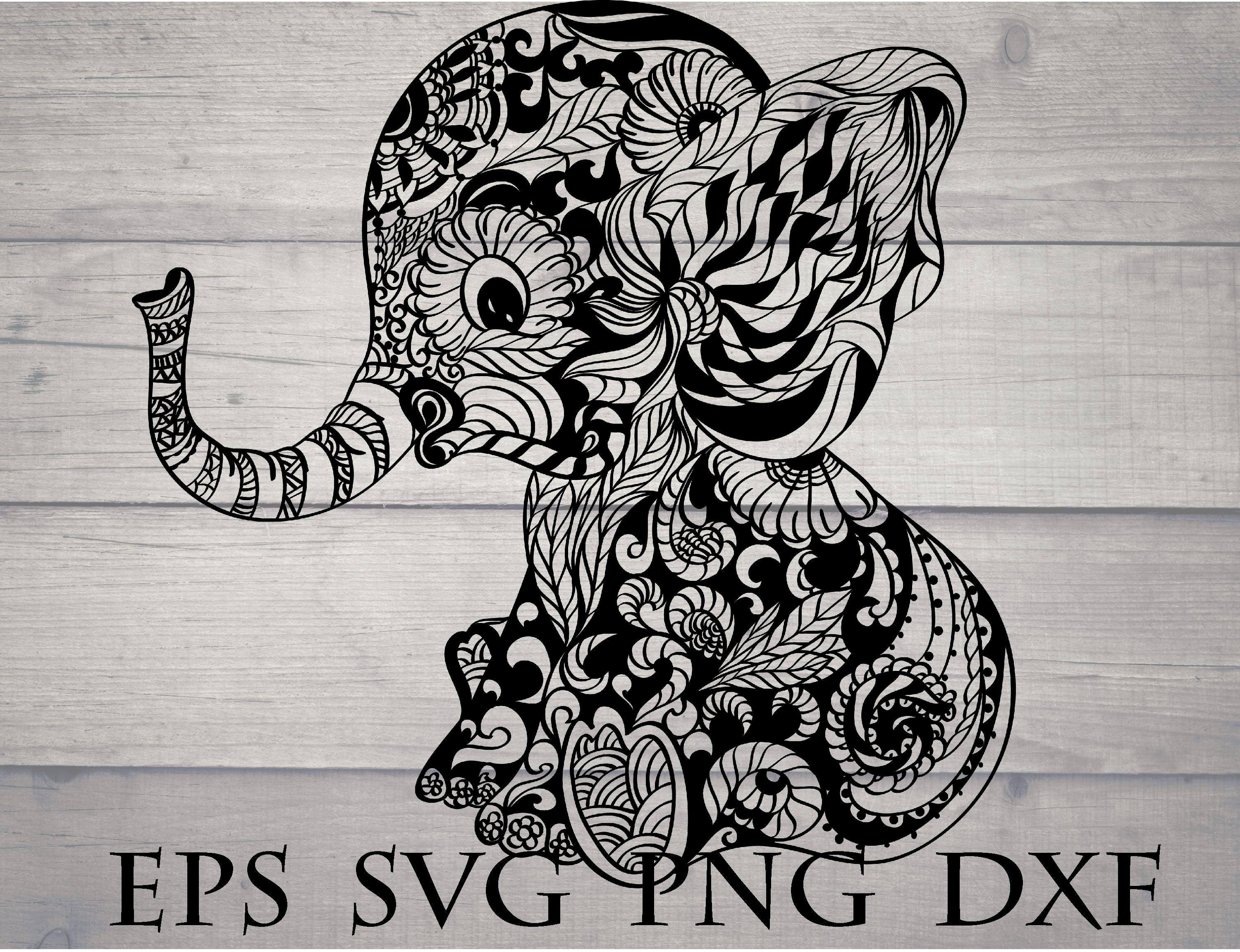 Elephant mandala svg / elephant zentangle svg / mandala elephant svg ...