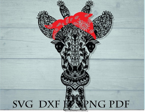 Bandana Svg Giraffe Svg Animal Zentangle Svg Intricate Svg Etsy