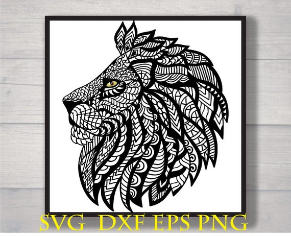 Zentangle Lion Svg Etsy