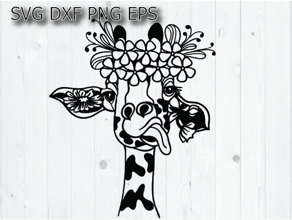 Giraffe Svg Floral Wreath Svg Files For Cricut Etsy