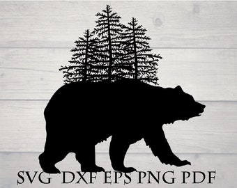 Bear with pine tree svg file for cricut
