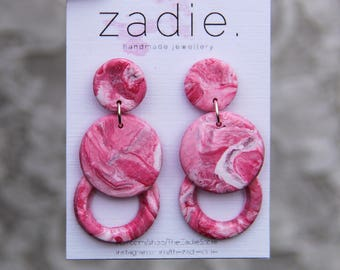 Pink silver geometric earrings, dangle earrings, drop earrings, pink dangles, unique earrings, made by the zadie store, marble effect