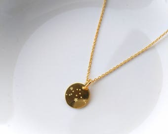 """Necklace ~ """"star Sign"""" ~ 10mm 925 ~ Silver Gold"""
