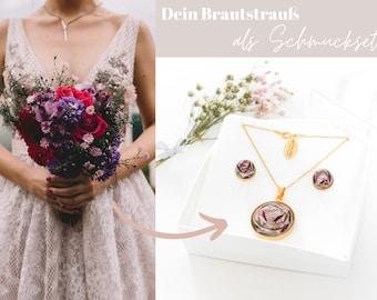 """Schmuckset """"Belle"""" aus Deinem Brautstrauß / Ohrstecker + Halskette / 925er Silber vergoldet"""