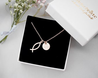 """Necklace """"Ichthys"""" 925 Silver Rose Gold Plated"""