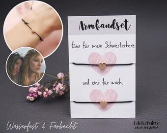 "Bracelet set ""Sister Heart"" Rose Gold EDELSTAHL & WASSERFEST"