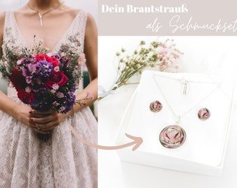 """Schmuckset """"Belle"""" aus Deinem Brautstrauß / Ohrstecker + Halskette / 925er Silber"""