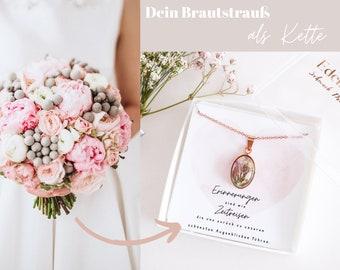 """Halskette / Anhänger """"Belle"""" Oval aus Deinem Brautstrauß / 925er Silber Rosé vergoldet"""
