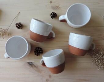Pottery mug shot. White glaze. Pottery mug. Coffee cup. Coffee mug. Housewarming gift. Clay cup. Birthday gift. Mug.
