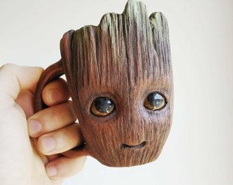 Pottery mug.TO ORDER. Baby Groot. 300 ml mug groot. Baby groot. Personalised pottery. Birthday gift. Groot.