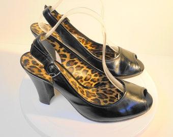 145566a0f5e Gianni Bini---Black Chunky Heel Peep Toe Slingback Pump Size 9.5 Medium
