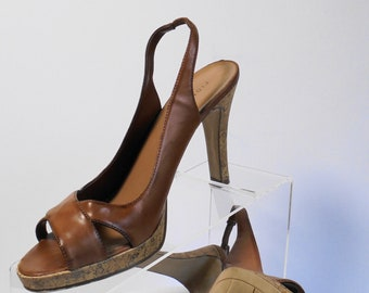 f8fd2f9309ce Fioni Brown Leather And Cork Sandal Size 8 1 2