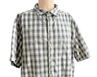 Columbia Brown Tones Checkered Print 100% Cotton Shirt Size XXL