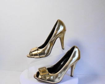 101827bc806 Charlotte Russe Beautifl Shiny Gold Open Toe High Heel Size 7
