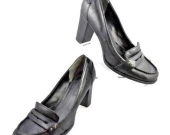 Bandolino Chunky Heel Black Slip-On Pump Size 7 Medium