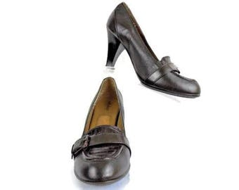 Soft Shoe By Medicus Size 8 Med Comfort Brown Leather Slip On Pump