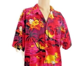 Palm Wave 1005 Cotton Hawaiian Print Shirt Size XXL