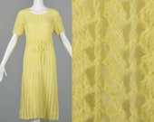 Small 1960s Yellow Crochet Dress Sheer Short Sleeve Dress Spring Summer Casual Day Wear Fitted Knit 60s Vintage