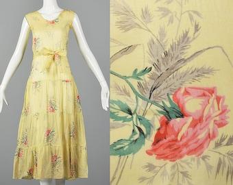 b2de900d3c4 XXS 1930s Dress Sheer Yellow Day Dress Large Rose Print Lightweight Cotton  Spring Summer Day Wear 30s Vintage