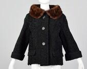 Small 1950s Black Persian Lamb Jacket Mink Collar Short Winter Jacket Long Sleeve Coat Fur Trim Collar 50s Vintage