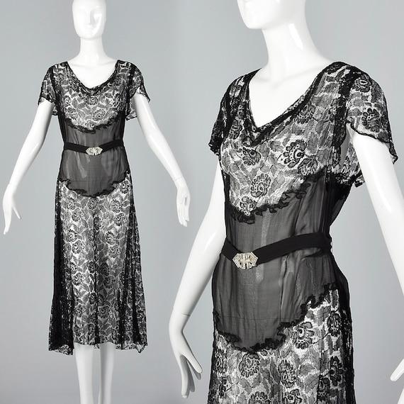 Small 1930s Sheer Black Lace Dress Art Deco Dress