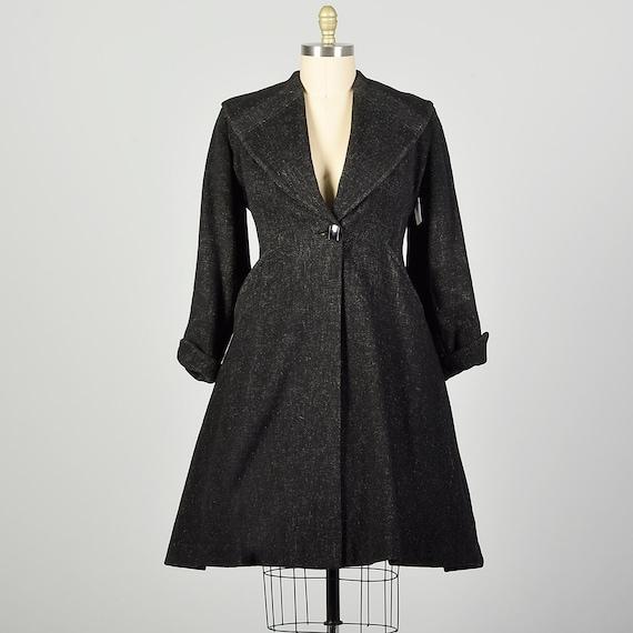 Large 1950s Coat Grey Princess Fit & Flare Wool S… - image 1