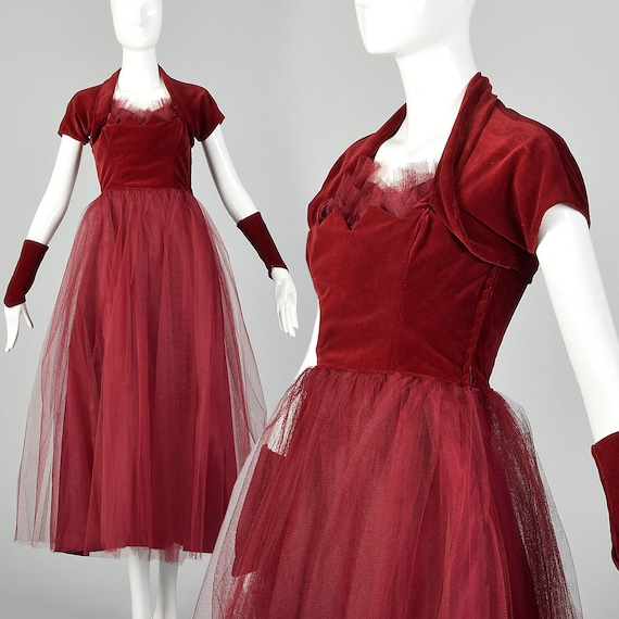 XXS 1940s Gown Vintage Prom Dress 40s Prom Dress V