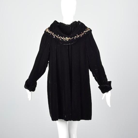 1940s Hooded Coat Loose Autumn Coat Sequin Hood B… - image 10