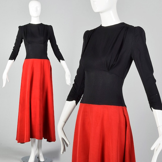 XS 1940s Dress Color Block Evening Dress Red Maxi