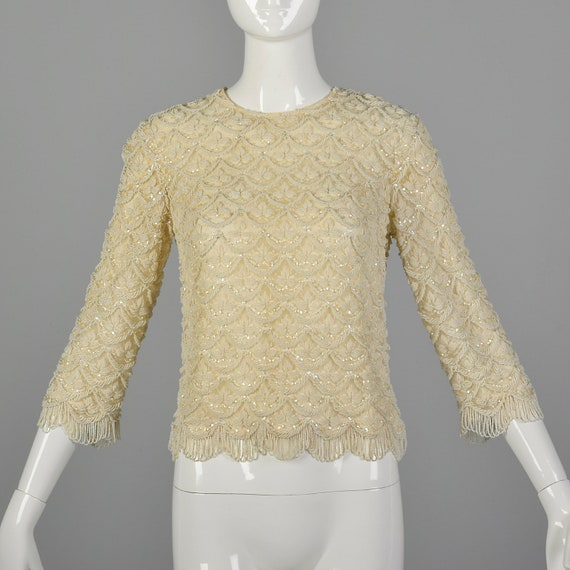 XXS 1960s Beaded Blouse in Ivory Vintage Beaded To
